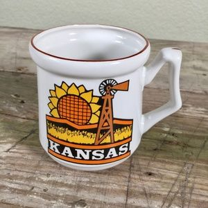 Kansas vintage coffee mug sunflower windmill facts